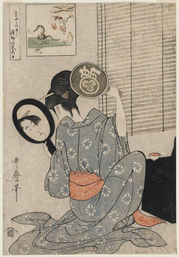 Kitagawa_Utamaro_-_Takashima_Ohisa_Using_Two_Mirrors_to_Observe_Her_Coiffure_Night_of_the_Asakusa_Marketing_Festival_-_MFA_Boston_21.6410