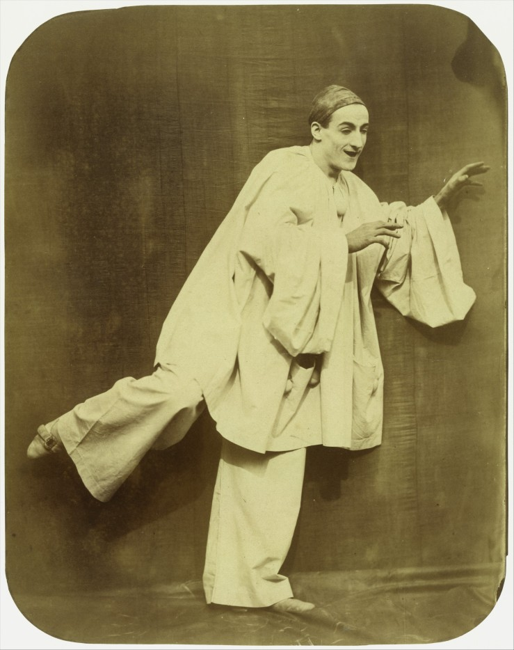 Nadar (French, Paris 1820–1910 Paris) Pierrot Running, 1854–55 Albumen silver print from glass negative; Image: 26.5 x 20.8cm (10 7/16 x 8 3/16in.) Mount: 41.3 x 34.5 cm (16 1/4 x 13 9/16 in.) The Metropolitan Museum of Art, New York, Gilman Collection, Purchase, The Horace W. Goldsmith Foundation Gift, through Joyce and Robert Menschel, 2005 (2005.100.43) http://www.metmuseum.org/Collections/search-the-collections/283118